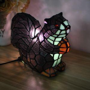 Tiffany Light Kids Room Table Lamp Squirrel Model Shade Bedroom Bedside Lamp European Pastoral Retro Style Light