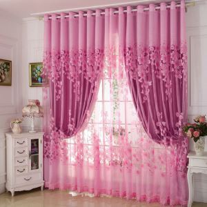Modern Voile Sheer Curtain Pastoral Pink Jacquard Bedroom