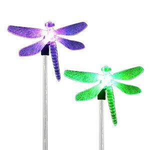 Solar Powered Stake Light Color-Changing Dragonfly Garden Decorative Lamp Pack of 2
