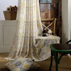 Minimalist Voile Curtain Panel Pastoral Daisy Environmental Printing Window Sheer