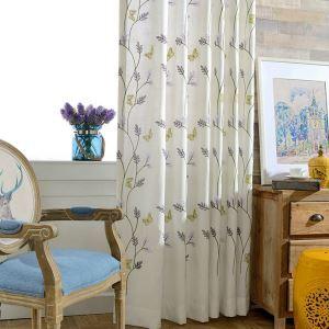 Modern Linen Blackout Curtain Butterfly Embroidery Room Darkening Curtain Panel