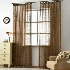 Minimalist Sheer Curtain Embroidered Living Room Brown