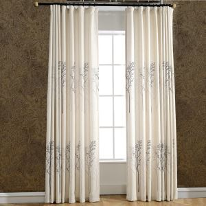 Modern Blackout Curtain Tree Printing Living Room Window Door Treatment