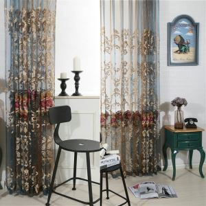 Luxury Sheer Curtain American Gradient Color Embroidery Bedroom Wndow Treatment
