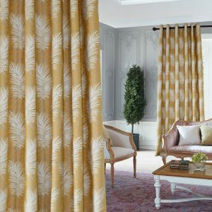 Thermal Insulated Blackout Curtain Yellow Jacquard