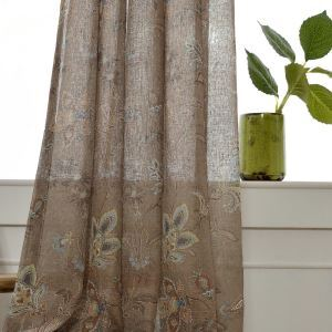 Flower Printing Voile Sheer Curtain Panel