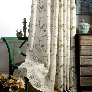 Japanese Style Blackout Curtain Minimalist Green Leaf Embroidered Living Room Bedroom