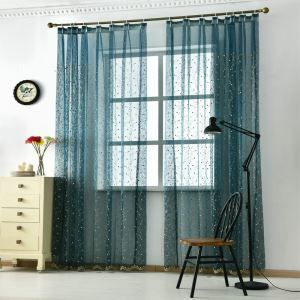 Floral Embroidery Voile Sheer Curtain