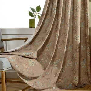 American Style Voile Sheer Curtain Panle Brown Flower Printing