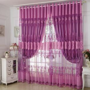 European Retro Voile Curtain Elegant Purple Jacquard Window Door Sheer