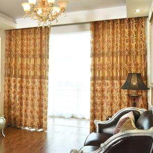 Retro Window Door Volie Curtain Brown Jacquard Living Room