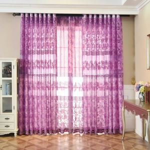 Elegant Sheer Curtain Country Style Purple Floral Jacquard Window Door
