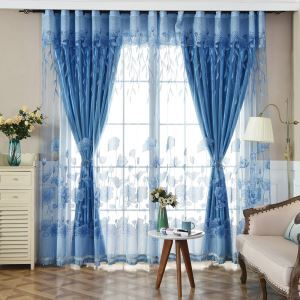 Modern Minimalist Sheer Curtain Lotus Jacquard Blue
