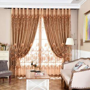 Modern Minimalist Voile Curtain Brown Jacquard Living Room Window Sheer
