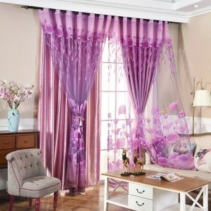 Country Style Sheer Curtain Ironing Silver Powder Jacquard Bedroom