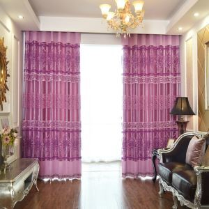 European Minimalist Voile Curtain Silver Jacquard Bedroom Window Sheer