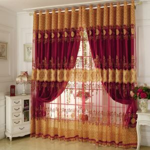 Minimalist Classical Voile Curtain European Jacquard Living Room Window Sheer