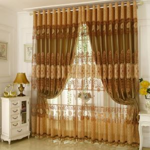 Luxury Voile Curtain Panel Gold Jacquard Living Room Window Sheer