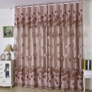 Minimalist Voile Curtain Panle Refreshing Leaves Jacquard