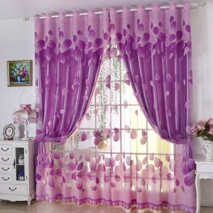 Elegant Sheer Curtain Purple Leaf Jacquard
