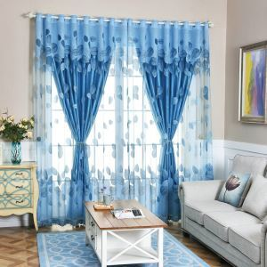 Modern Voile Curtain Panle Thicken Sheer Blue Jacquard
