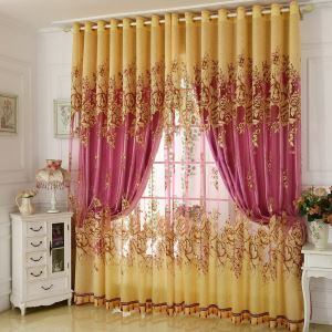 American Country Sheer Curtain Breathable Jacquard Bedroom