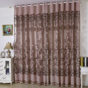 European Country Sheer Curtain Flower Jacquard Semi Blackout Living Room