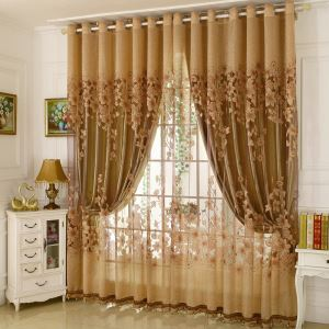 Classic Voile Curtain Panle Country Style Magnificent Flower Branch Jacquard