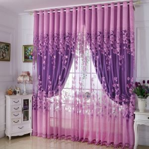 Country Style Sheer Curtain Special Jacquard Bedroom Window Treatment