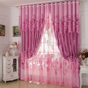 Country Style Voile Curtain Panel Gorgeous Peony Jacquard Pink Bedroom