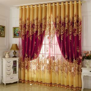 Luxurious Sheer Curtain Jacquard Yellow Peony Living Room Bedroom Window Treatment