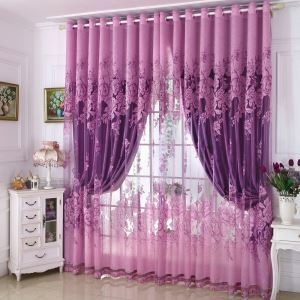 Minimalist Voile Curtain Environmental Protection Jacquard Bedroom Sheer Curtain Panel
