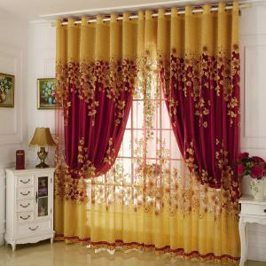 American Country Sheer Curtain Flower Branch Jacquard Window Treatment Bedroom