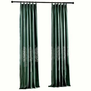 Flannel Room Darkening Curtain American Style Minimalist Rmbroidery Green