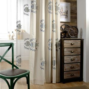 Embroidered Blackout Curtain Kids Room Minimalist Room Darkening Curtain Panel