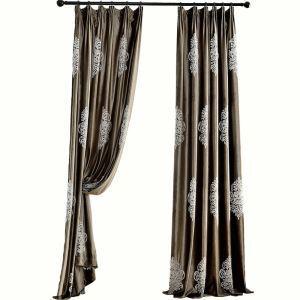 Flannel Blackout Curtain European Minimalist Embroidery Room Darkening Blown