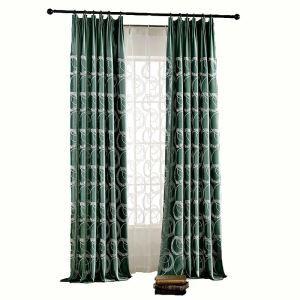 Green Velvet Room Darkening Lliving Room Bedroom Embroidered Blackout Curtain