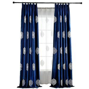 Snowflake Blackout Curtain Blue Embroidery Room Darkening Living Room