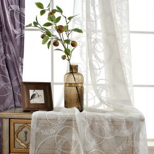 Fashion Sheer Curtian Ring Embroidery White Voile Curtain Living Room Bedroom