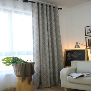 Grey Max Blackout Curtain Modern Minimalist Diamond Abstract Room Darkening  Curtain Panel