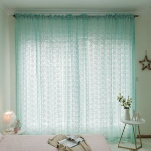 Blue Floral Sheer Curtain Kids Room Window Treatment
