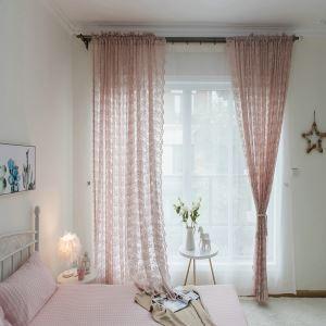 Jacquard Kid Room Curtain Japanese Pink Flowers Window Treatment