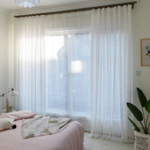 White Floral Sheer Curtain Jacquard Window Treatment
