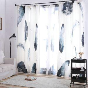 Modern Minimalist Curtain Digital 5D Printing Lifelike Feather Window Treatment