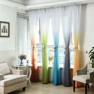 Polyester Breathable Sheer Curtain Modern Minimalist Printing Sheer Curtain Designs