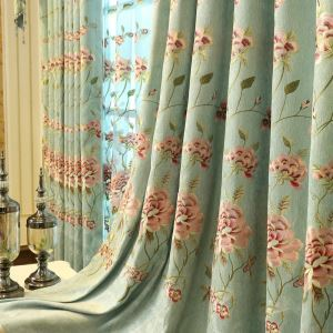 Embroidery Blind Curtain Minimalist American Peony Chenille Bedroom Curtain Design