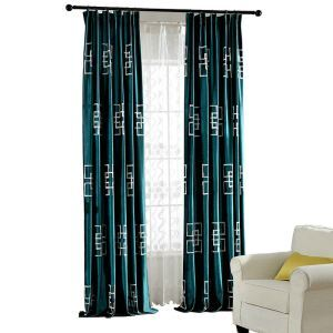 Minimalist Window Curtain Modern Square Embroidered Velvet Blackout Curtain Dark Green Shading Rate 75%