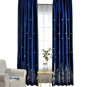 Blue Embroidery Semi Blackout Curtain Castle Room Darkening Kids Bedroom