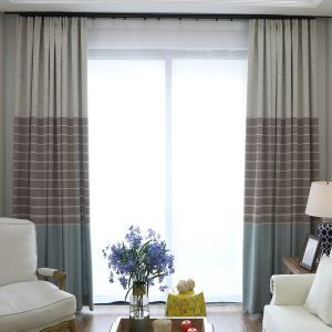 Hemp Max Blackout Curtain American Country Jacquard Room Darkening Window Drape Living Room