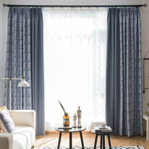 Leaf Max Blackout Curtain Modern Minimalist Splice Room Darkening Curtain Panel for Living Room